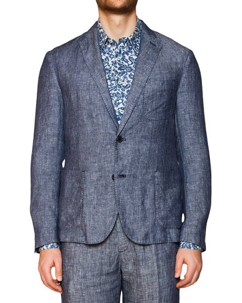 пиджак классического кроя из плотного льна артикул 8830E425 марки 120% lino купить за 12000 руб.