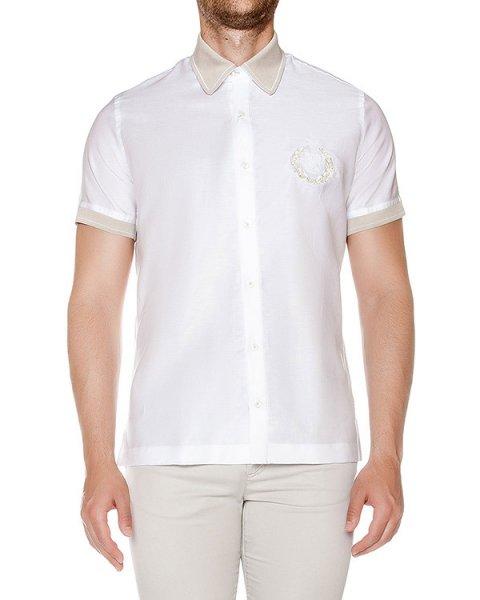 рубашка из тонкого хлопка с льняной вышивкой и контрастным воротником артикул 915630 марки Cortigiani купить за 20600 руб.