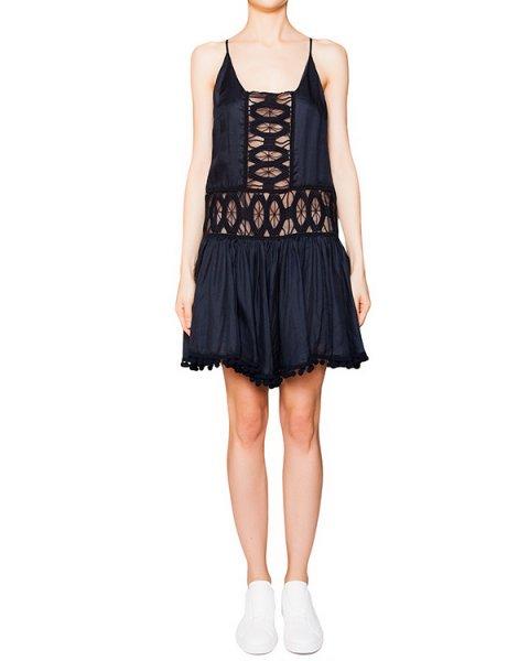 платье из мягкой ткани, декорировано прозрачными ажурными вставками и драпировкой артикул A565 марки DONDUP купить за 17100 руб.