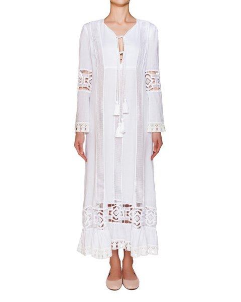 платье в пол свободного кроя из легкой ткани с ажурной вышивкой артикул A580 марки DONDUP купить за 25100 руб.