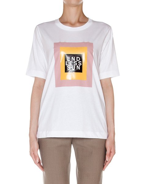 футболка из хлопкового трикотажа с принтом артикул AASS16J02AN марки AALTO купить за 11000 руб.