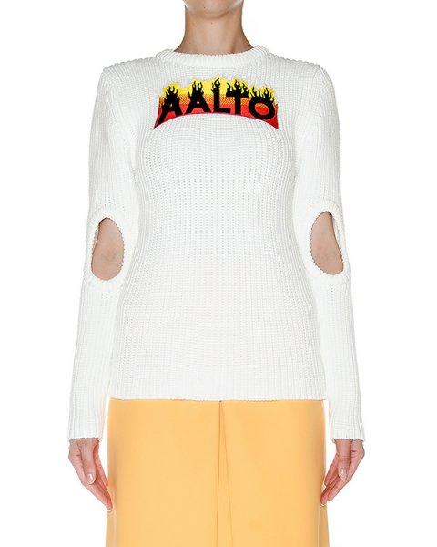 джемпер крупной вязки с вырезами на рукавах и аппликацией логотипа бренда артикул AASS16KA1SH05 марки AALTO купить за 38000 руб.