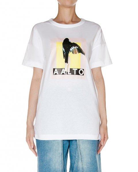 футболка из мягкого хлопкового трикотажа с принтом артикул AASS16T10B-101 марки AALTO купить за 12200 руб.
