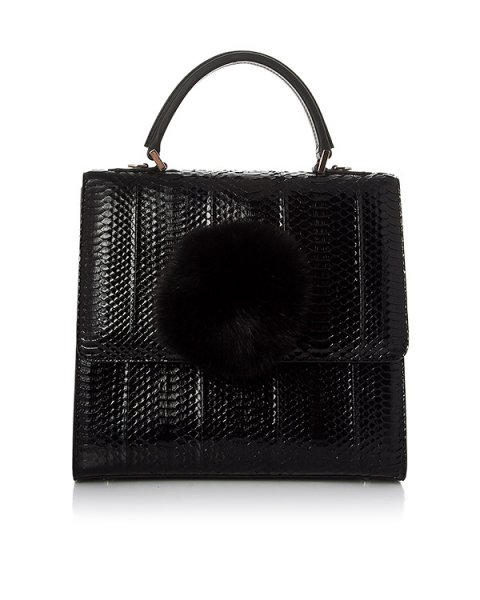 сумка из кожи с тиснением под рептилию, дополнена помпоном артикул ABNS1 марки Les petits joueurs купить за 99000 руб.