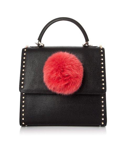 сумка из кожи, дополнена ярким помпоном артикул ABNV37V46 марки Les petits joueurs купить за 86000 руб.