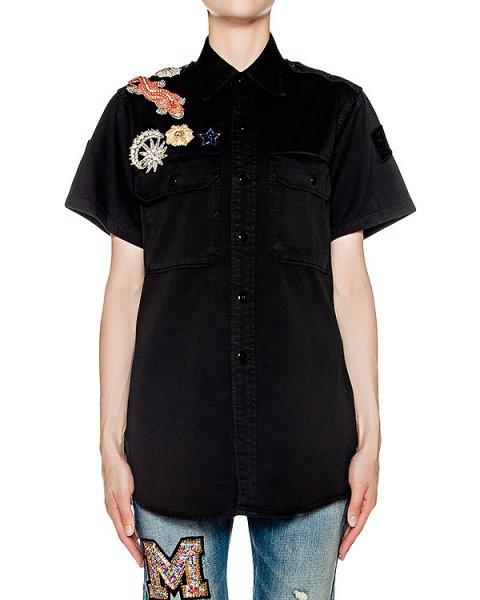 рубашка удлиненного кроя из мягкого денима украшена нашивками с кристаллами артикул ABS16202 марки Amen купить за 30600 руб.