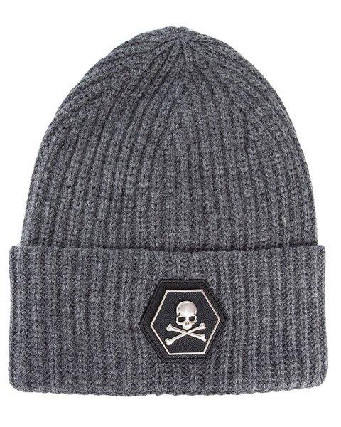 шапка из кашемира, дополнена логотипом бренда артикул AM803421 марки PHILIPP PLEIN купить за 16100 руб.