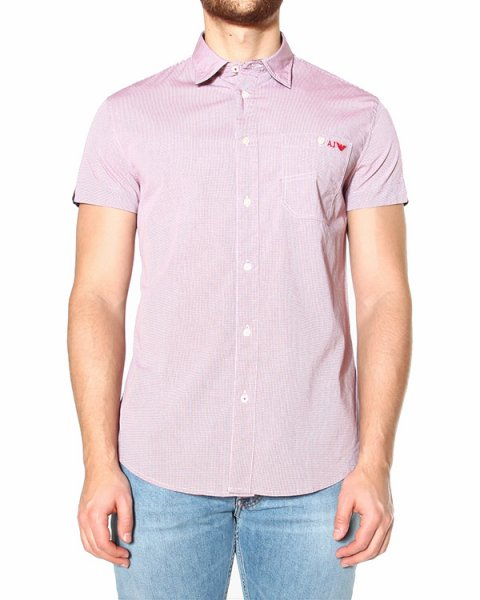 рубашка приталенного силуэта, с ярким лого бренда на нагрудном кармане артикул AMC14 марки ARMANI JEANS купить за 5900 руб.