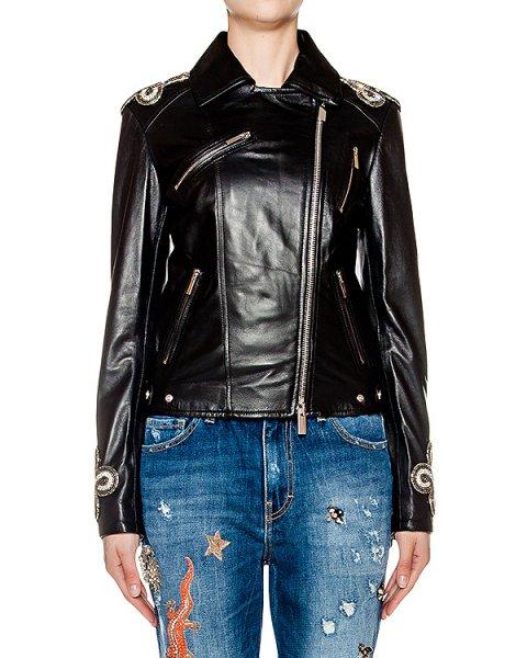 куртка косуха из гладкой натуральной кожи, дополнена нашивками на плечах артикул AMS16108 марки Amen купить за 124400 руб.