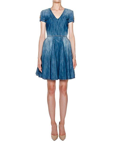платье приталенного кроя из тонкого денима, украшено нашивкой с кристаллами артикул AMS16637 марки Amen купить за 37200 руб.
