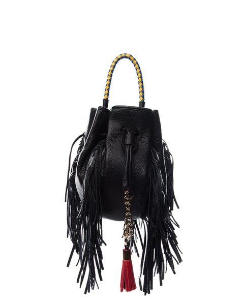 сумка из натуральной мягкой кожи, декорирорвана длинной бахромой и контрастной плетеной ручкой артикул B029 марки Sara Battaglia купить за 83600 руб.