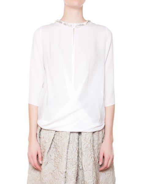 блуза из легкого шелка с отделкой из бусин и бисера артикул C616 марки Dice Kayek купить за 35200 руб.