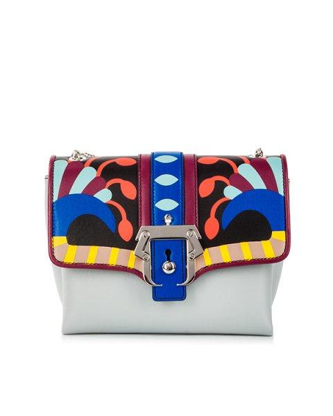 сумка из кожи теленка с контрастными кожаными вставками и металлической фурнитурой артикул CARINERC18 марки Paula Cademartori купить за 106600 руб.