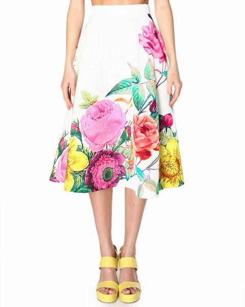 юбка midi, с посадкой на талии и ярким летним цветочным принтом артикул CATY620047 марки P.A.R.O.S.H. купить за 19900 руб.