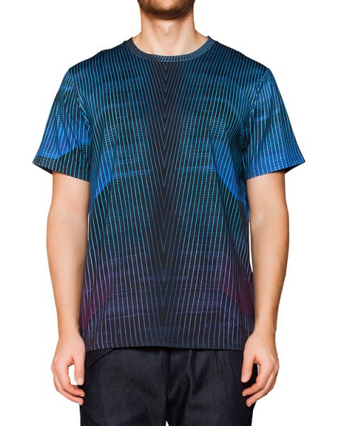 футболка из мягкого хлопка яркого цвета в тонкую полоску артикул CCU153137 марки Cocurata купить за 4200 руб.