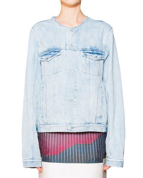 куртка из плотного денима с необраоботанным воротом артикул CCU153906 марки Cocurata купить за 12700 руб.