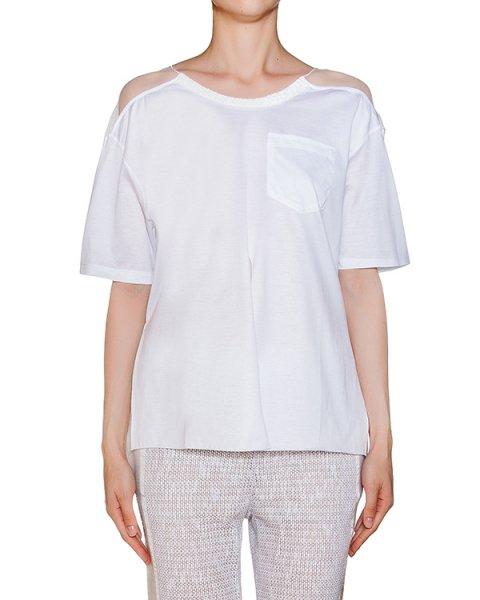 футболка из хлопкового трикотажа, дополнена прозрачной вставкой  артикул CEM307 марки AVIU купить за 6400 руб.