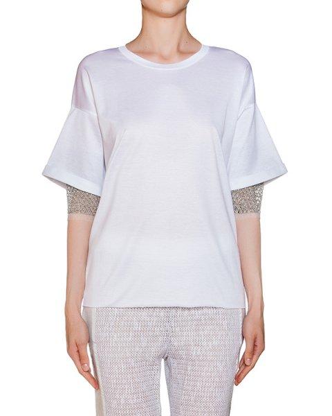 футболка из хлопкового трикотажа, дополнена прозрачной вставкой на спине и сеткой на рукавах артикул CEM426 марки AVIU купить за 8500 руб.
