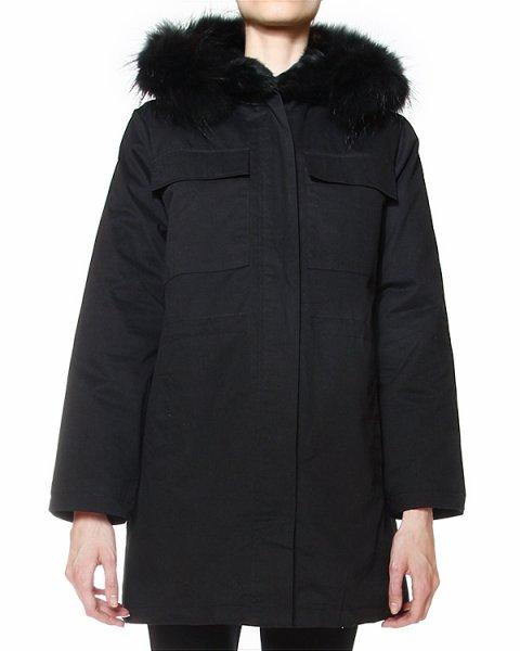 пальто с капюшоном, отороченным натуральным мехом артикул CHAUDE470511 марки P.A.R.O.S.H. купить за 36600 руб.