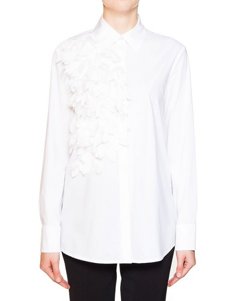блуза прямого кроя из плотного хлопка, декорирована многослойными лепестками артикул CM19 марки Sonia Speciale купить за 28300 руб.