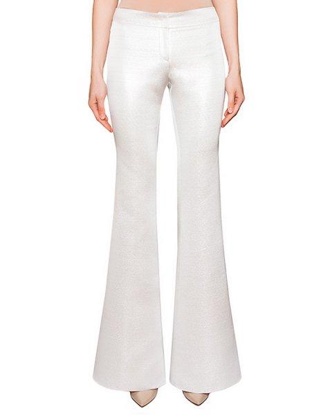 брюки расклешенные, из плотного фактурного материала серебристого цвета артикул COAT0000385 марки Kalmanovich купить за 15800 руб.