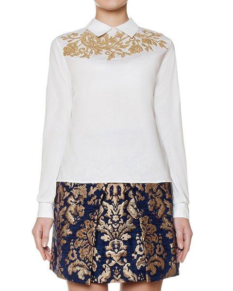 блуза классического кроя из хлопка украшена золотистым узором артикул COGOLD310665 марки P.A.R.O.S.H. купить за 14300 руб.