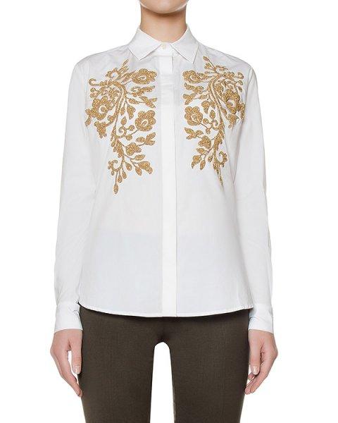 рубашка классического кроя из хлопка украшена золотистым узором артикул COGOLD380518 марки P.A.R.O.S.H. купить за 13500 руб.