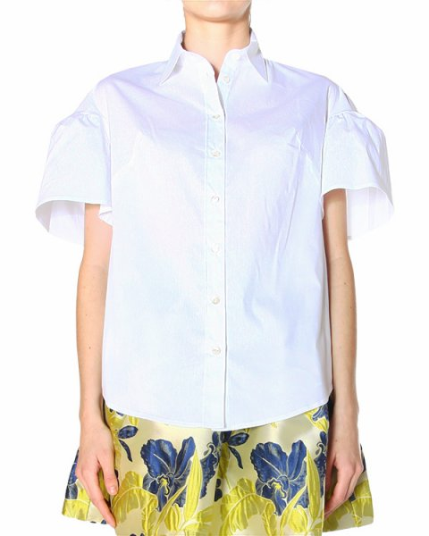 рубашка прямого кроя, с рукавами, оформленными пышными рюшами артикул COP380020 марки P.A.R.O.S.H. купить за 7200 руб.
