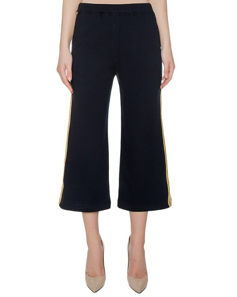 брюки из хлопкового трикотажа с золотистыми лампасами артикул COSOFT230109B марки P.A.R.O.S.H. купить за 10900 руб.