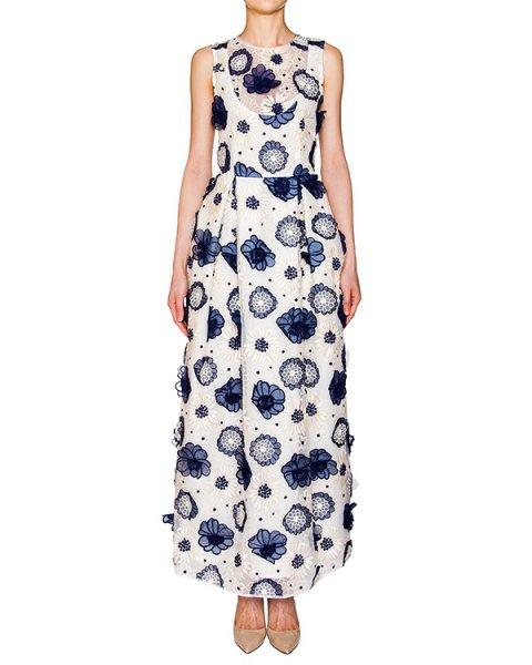 платье в пол из плотной ткани, декорировано вышивкой и аппликациями в виде цветов артикул CP6AB1901 марки Simona Corsellini купить за 25800 руб.