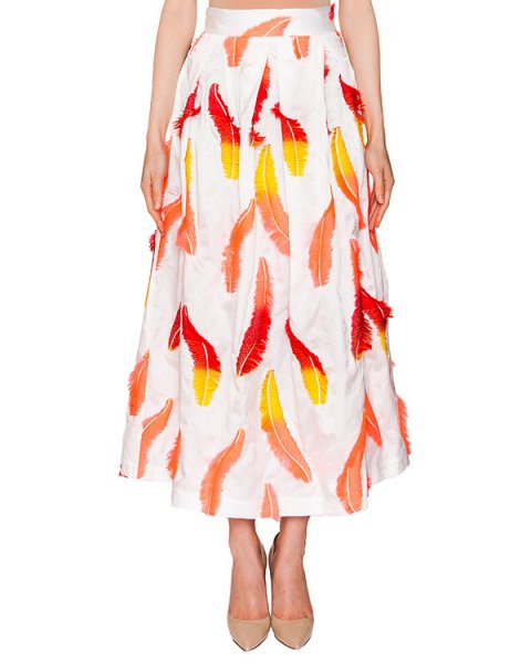 юбка из плотной ткани, декорирована аппликациями в виде перьев артикул CP6GO0601 марки Simona Corsellini купить за 13500 руб.