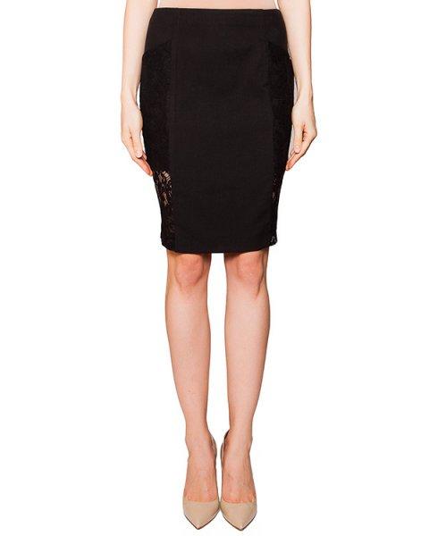 юбка из плотной эластичной ткани, декорирована полупрозрачными кружевными вставками артикул D2LA302 марки Thomas Wylde купить за 23600 руб.