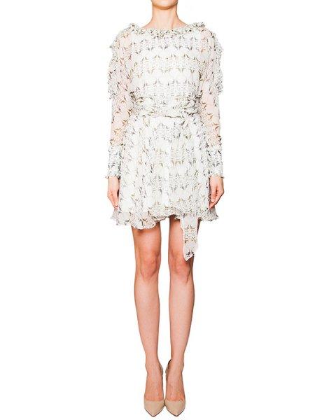 платье из легкого полупрозрачного шелка с рисунком, декорировано оборками артикул D2PS502LI марки Thomas Wylde купить за 23000 руб.