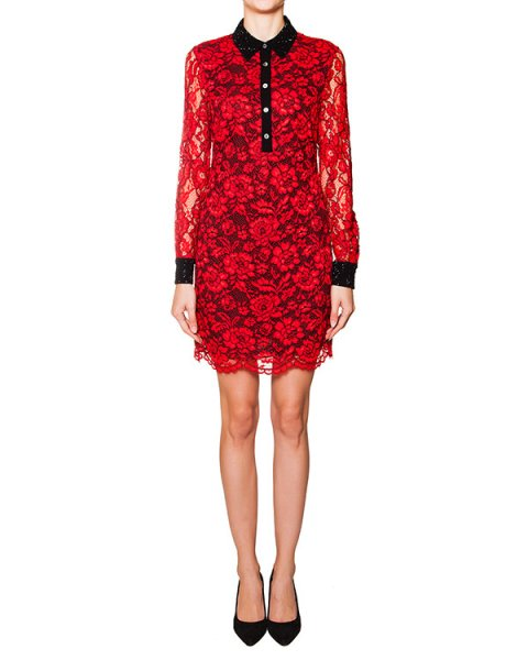 платье из кружева с контрастным отложным воротником артикул D942301S15W марки DIANE von FURSTENBERG купить за 28600 руб.