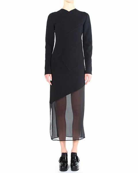 платье из плотного трикотажа с подолом из полупрозрачного шифона артикул DICHROA марки Damir Doma купить за 40200 руб.