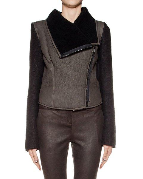 куртка из плотной фактурной кожи, дополнена шерстяными рукавами артикул DL11F16 марки Isabel Benenato купить за 138300 руб.