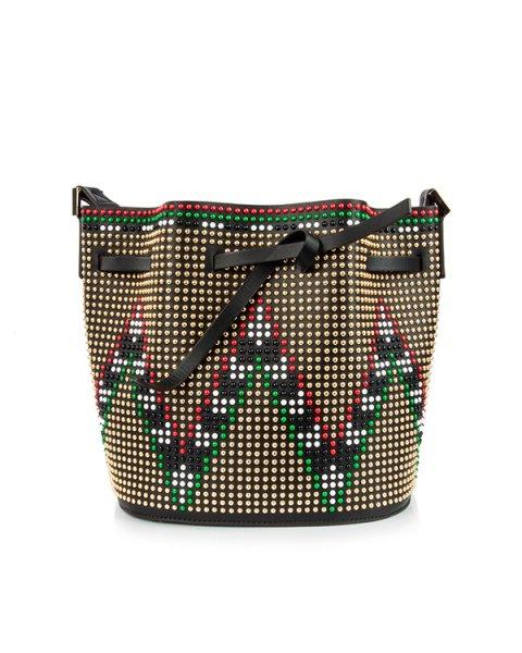 сумка из натуральной кожи, декорирована заклепками артикул DLG-V10 марки Les petits joueurs купить за 84000 руб.
