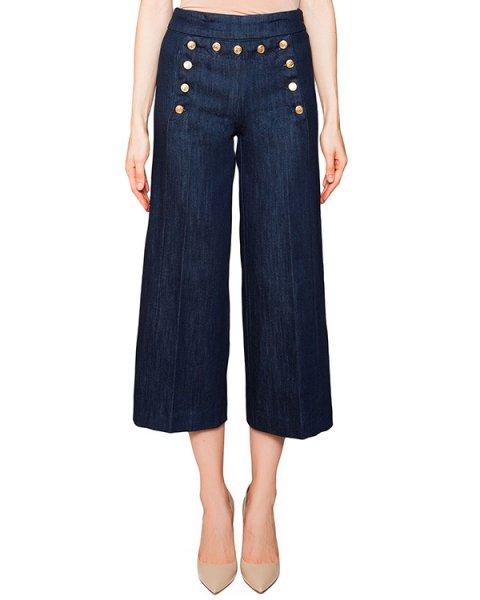 джинсы расклешенные, укороченного кроя из плотного денима, декорированы крупными пуговицами артикул DP135 марки DONDUP купить за 10300 руб.