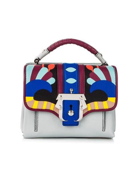 сумка из кожи теленка с контрастными кожаными вставками и металлической фурнитурой артикул DUNDUNRC18 марки Paula Cademartori купить за 126000 руб.