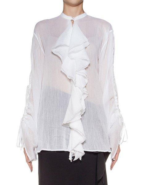 блуза из тонкого хлопка и шелка, декорирована оборками артикул DW31F16 марки Isabel Benenato купить за 41700 руб.