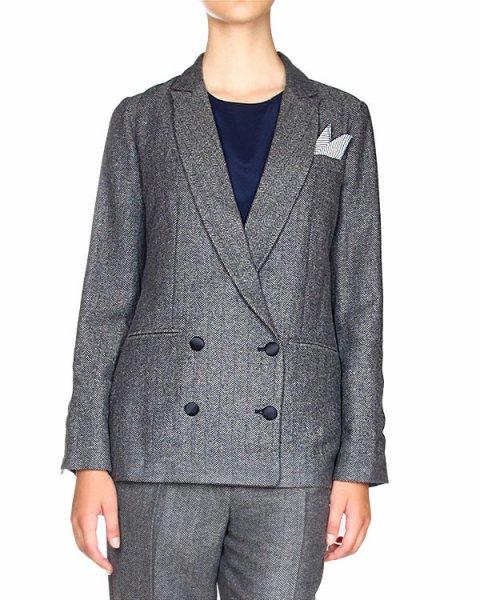 жакет двубортный, с элегантным платочком в нагрудном кармане артикул E01233 марки SEMI-COUTURE купить за 14100 руб.