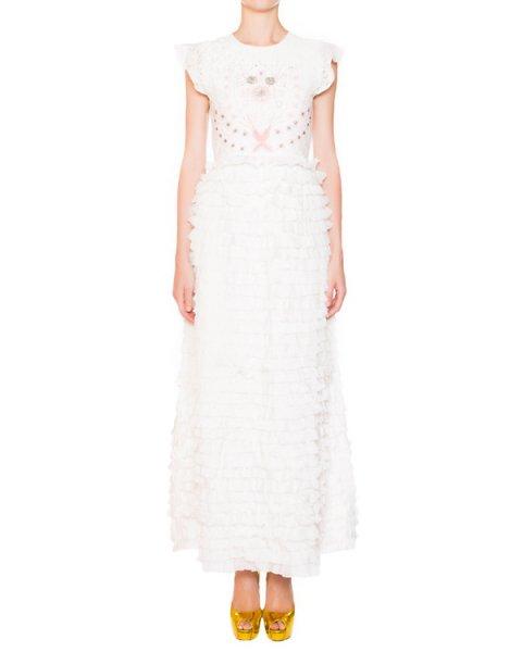 платье из шелка, украшено кружевом, вышивкой и оборками  артикул E5CERO марки Manoush купить за 32300 руб.