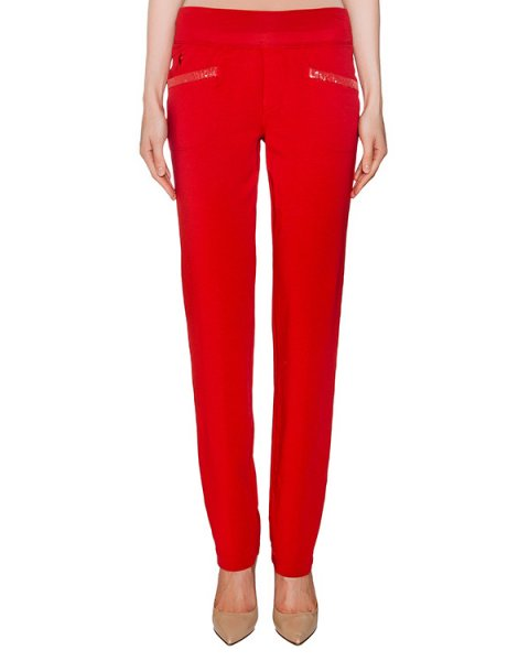 брюки из хлопкового трикотажа с отделкой из пайеток артикул EE07FU марки European Culture купить за 4800 руб.