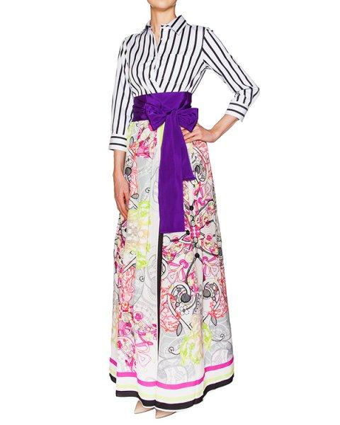 платье приталенного кроя из хлопка в полоску, юбка с запахом декорирована вышивкой и принтами артикул ELENALO117-30F марки Sara Roka купить за 46700 руб.