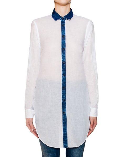 рубашка из тонкого хлопка с контрастной отделкой из денима артикул ER65LA марки European Culture купить за 4600 руб.