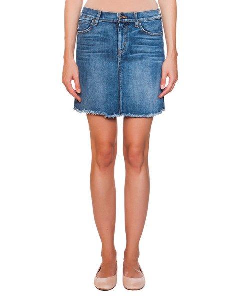 юбка из плотного денима с необработанными краями артикул F011050S марки Koral купить за 6500 руб.