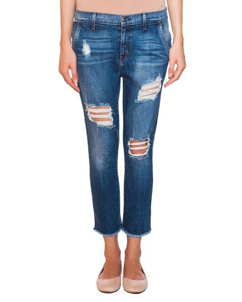 джинсы укороченного кроя с потертостями артикул F128XC050S марки Koral купить за 8600 руб.