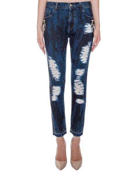 джинсы из потертого денима, украшены нашивками с кристаллами артикул F16MTR412CPA марки Marcobologna купить за 40500 руб.