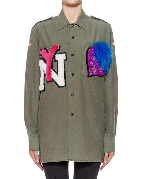 рубашка прямого кроя, дополнена аппликациями и съемной меховой деталью артикул FCFW1607 марки Forte Couture купить за 31800 руб.