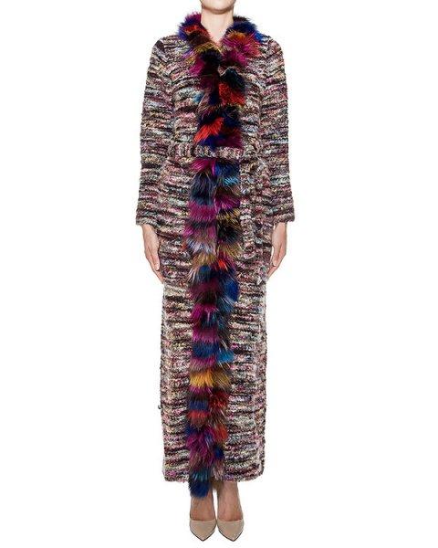 пальто вязаное из цветной полушерстяной пряжи, дополнено отделкой из меха лисы артикул FCFW1656 марки Forte Couture купить за 35700 руб.